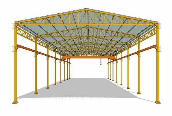 鋼結構框架工業廠房SU模型【ID:846369065】