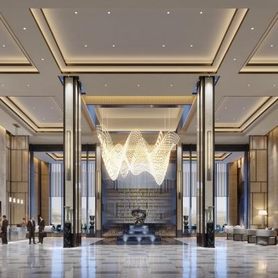 现代奢华酒店大堂前台3D模型【ID:427795285】