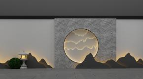 新中式背景墙石灯组合3D模型【ID:127755803】