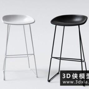 现代吧椅国外3D模型【ID:729655898】