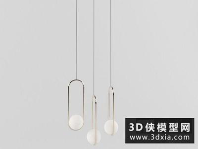 现代吊灯国外3D模型【ID:829365740】