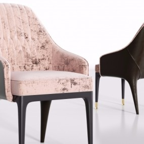 现代皮革绒布单椅3D模型【ID:228424460】