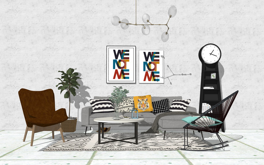 北欧风格客厅沙发茶几吊灯组合SU模型【ID:436373106】