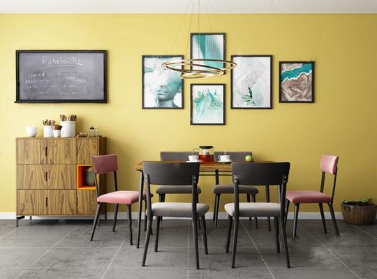 北欧餐桌椅组合3D模型【ID:120012846】