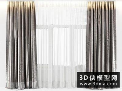 现代窗帘国外3D模型【ID:329400826】