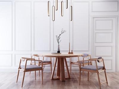 北歐原木餐桌椅3D模型【ID:850471859】