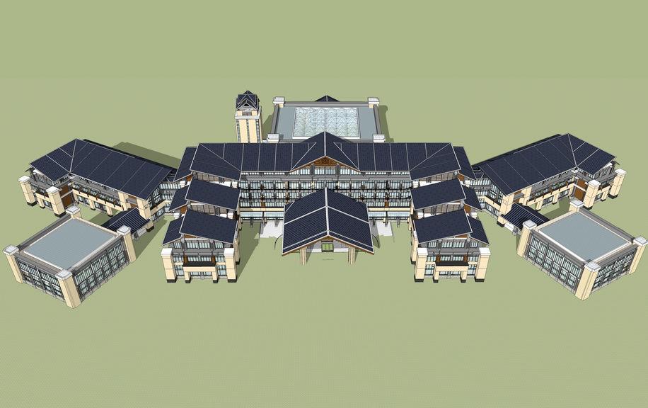 东南亚风格温泉酒店SU模型【ID:336373545】