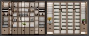 现代酒柜组合3D模型【ID:927824032】