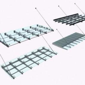 现代玻璃雨棚组合3D模型【ID:228423719】