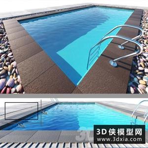 游泳池模型組合國外3D模型【ID:329308368】