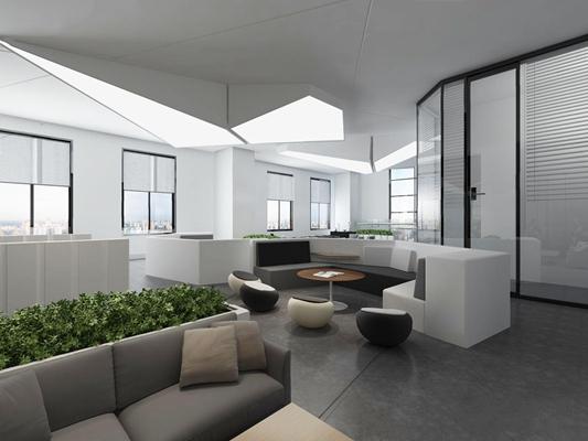 现代办公休闲区3D模型【ID:828322120】