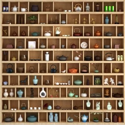 现代实木装饰柜茶壶摆件组合3D模型【ID:927838267】