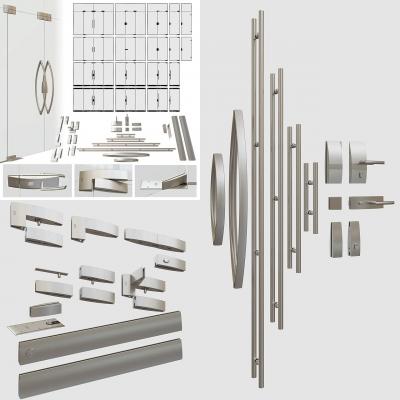 现代玻璃门拉手合页七字夹五金件组合3D模型【ID:728468747】