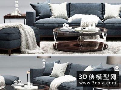 现代沙发组合国外3D模型【ID:729440605】