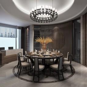 新中式餐廳3D模型【ID:828142549】