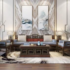 新中式沙发茶几组合3D模型【ID:127853038】