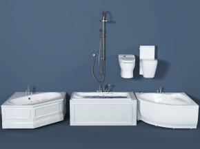 现代浴缸花洒马桶组合3D模型【ID:227778073】