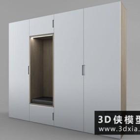 进门鞋柜国外3D模型【ID:829410037】