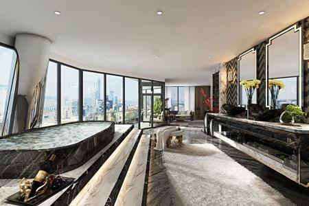 现代卫生间 现代卫浴 洗手间 台盆 浴缸 多人沙发 边几 脚凳