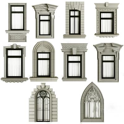 欧式窗户3D模型【ID:724882639】