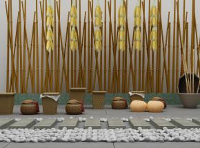 现代藤编筐玉米鹅卵石竹子景观小品3D模型【ID:127751800】