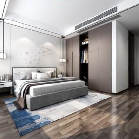 现代新中式卧室3D模型【ID:427974343】
