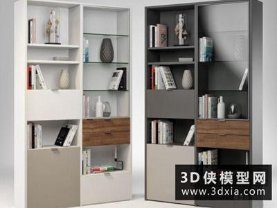 现代书柜国外3D模型【ID:829458054】