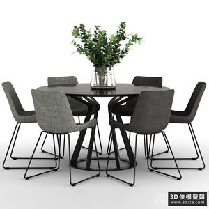 現代餐桌椅組合國外3D模型【ID:729460730】