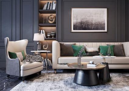 现代轻奢沙发组合 现代沙发茶几组合 多人沙发 茶几 台灯 边几 单人沙发 地毯 装饰品 挂画