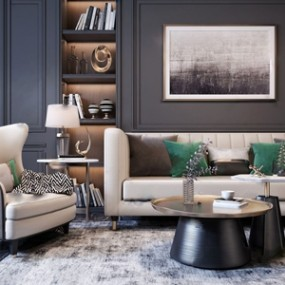 现代沙发茶几组合3D模型【ID:641978784】