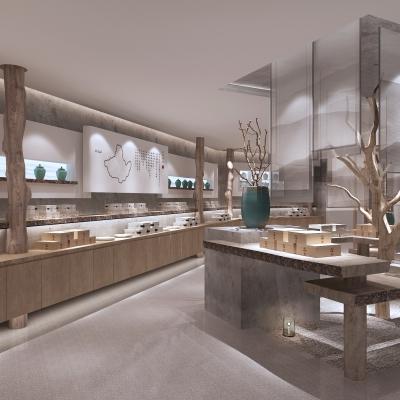 新中式茶文化展厅3D模型【ID:428444105】