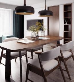 现代餐桌椅吊灯摆件组合3D模型【ID:327784463】