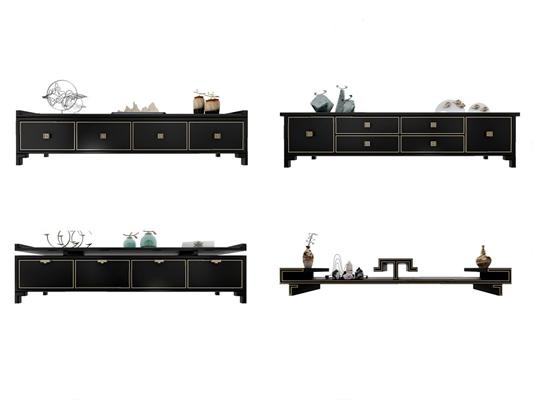 新中式电视柜3D模型【ID:928349094】