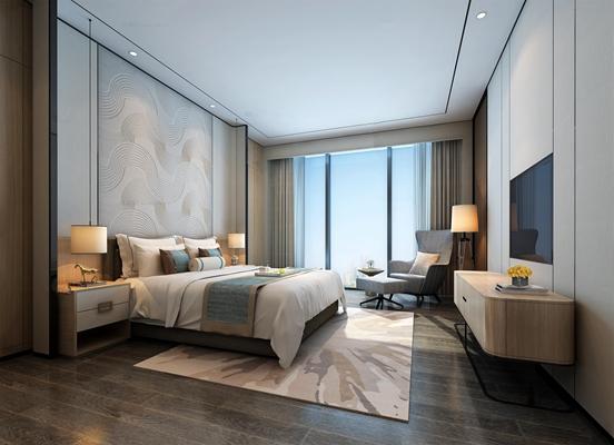 新中式酒店客房标间3D模型【ID:46851360】