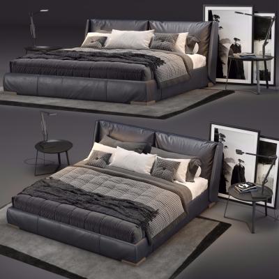 現代皮革雙人床床頭柜臺燈組合3D模型【ID:727811083】