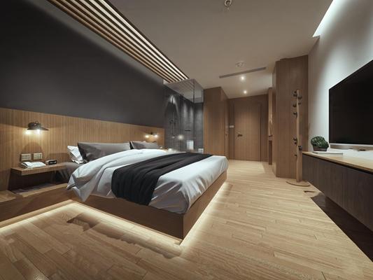 现代酒店客房单人间3D模型【ID:46865861】