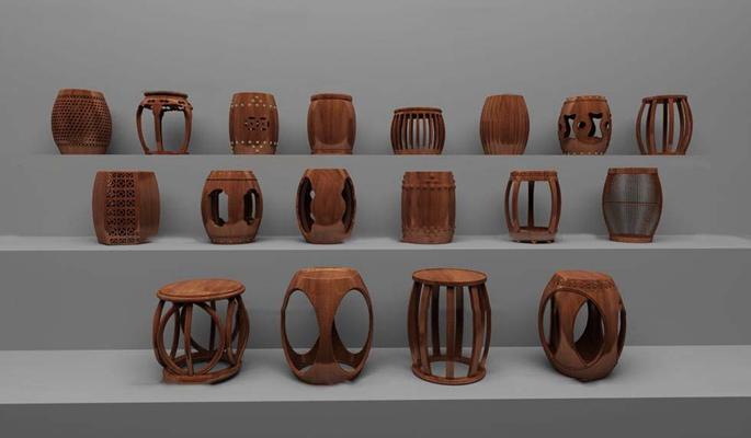 中式实木镂空鼓凳组合3D模型【ID:46869339】