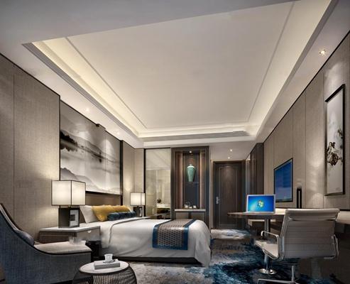新中式酒店标准单人间客房3D模型【ID:46876069】