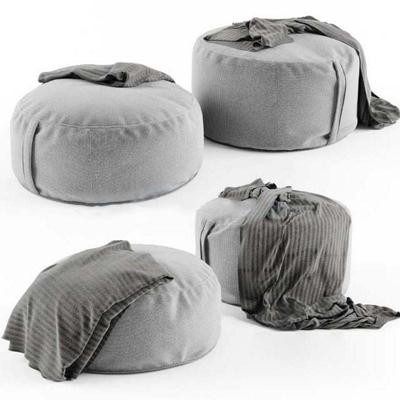 现代灰色布艺沙发凳布艺 小矮凳 皮墩 小圆凳 沙发墩子