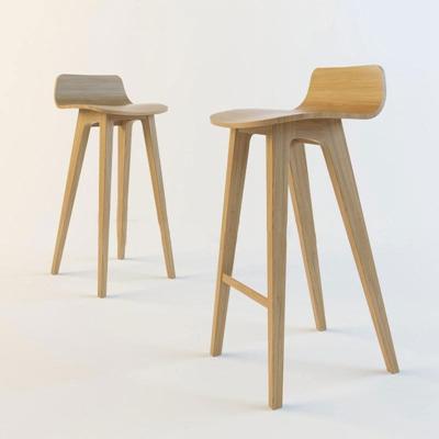 欧式实木靠背高脚凳欧式风格3D模型【ID:46917937】