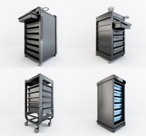 現代理發店金屬推車3D模型【ID:227779789】