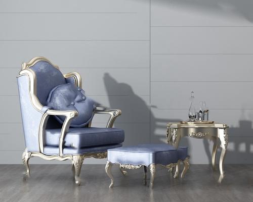 欧式单人沙发3D模型【ID:920612686】