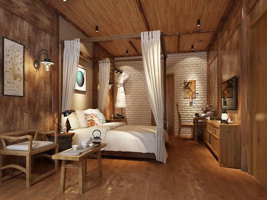东南亚酒店客房单人间3D模型【ID:46995769】
