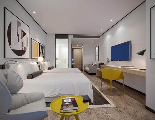 现代酒店客房双人间3D模型【ID:46999961】