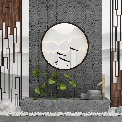 新中式園藝小品石槽磨盤水景3D模型【ID:127770887】