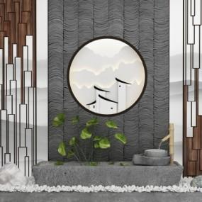 新中式园艺小品石槽磨盘水景3D模型【ID:127770887】