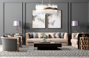 后现代沙发茶几圆几灯具组合3D模型【ID:127754060】