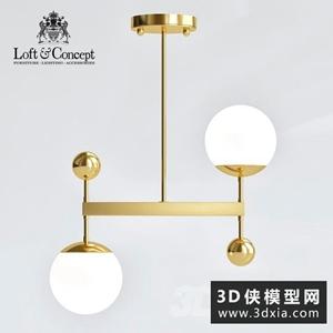 现代金色吊灯国外3D模型【ID:829323709】