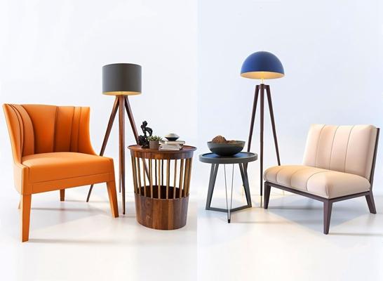北欧单人沙发组合3D模型【ID:928186631】