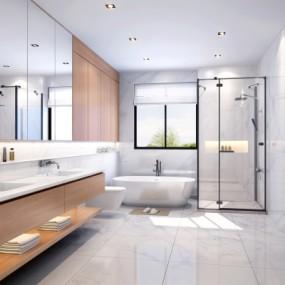 现代极简卫生间浴室3d模型【ID:128413614】